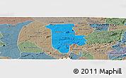 Political Panoramic Map of Boqueirao, semi-desaturated