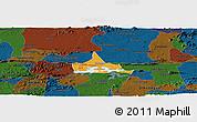 Political Panoramic Map of Coremas, darken