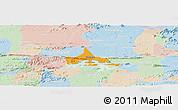 Political Panoramic Map of Coremas, lighten