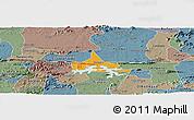 Political Panoramic Map of Coremas, semi-desaturated