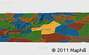 Political Panoramic Map of Juazeirinho, darken