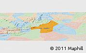 Political Panoramic Map of Juazeirinho, lighten
