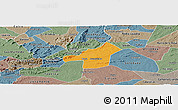 Political Panoramic Map of Juazeirinho, semi-desaturated