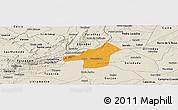 Political Panoramic Map of Juazeirinho, shaded relief outside