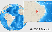 Shaded Relief Location Map of Manaira