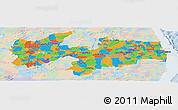 Political Panoramic Map of Paraiba, lighten