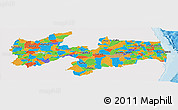 Political Panoramic Map of Paraiba, single color outside