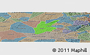 Political Panoramic Map of Pocinhos, semi-desaturated