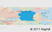 Political Panoramic Map of Pombal, lighten