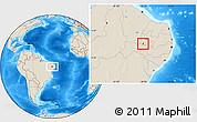 Shaded Relief Location Map of Santana de M.
