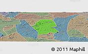 Political Panoramic Map of Serra Branca, semi-desaturated