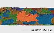 Political Panoramic Map of Souza, darken