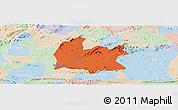 Political Panoramic Map of Souza, lighten