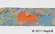 Political Panoramic Map of Souza, semi-desaturated