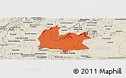 Political Panoramic Map of Souza, shaded relief outside