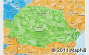 Political Shades 3D Map of Parana