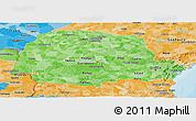 Political Shades Panoramic Map of Parana