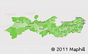 Political Shades 3D Map of Pernambuco, cropped outside