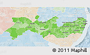 Political Shades 3D Map of Pernambuco, lighten