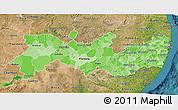 Political Shades 3D Map of Pernambuco, satellite outside
