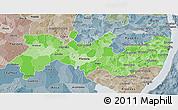 Political Shades 3D Map of Pernambuco, semi-desaturated