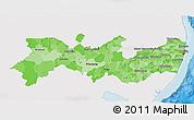 Political Shades 3D Map of Pernambuco, single color outside
