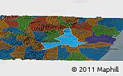 Political Panoramic Map of Agua Preta, darken