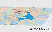 Political Panoramic Map of Agua Preta, lighten