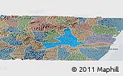 Political Panoramic Map of Agua Preta, semi-desaturated