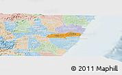 Political Panoramic Map of Barreiros, lighten