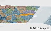Political Panoramic Map of Barreiros, semi-desaturated