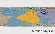 Political Panoramic Map of Belem de Sao Fco, semi-desaturated