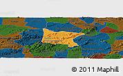 Political Panoramic Map of Brejo da Madre D, darken
