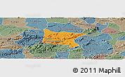 Political Panoramic Map of Brejo da Madre D, semi-desaturated