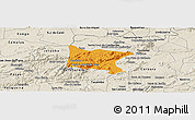 Political Panoramic Map of Brejo da Madre D, shaded relief outside