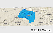 Political Panoramic Map of Buique, shaded relief outside
