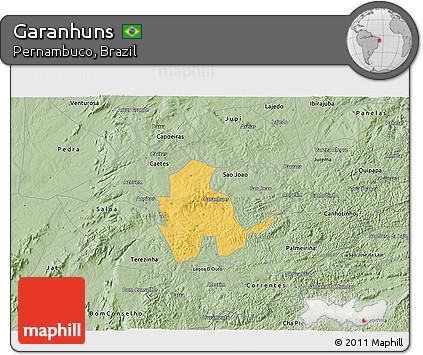 Free Savanna Style D Map Of Garanhuns - Garanhuns map