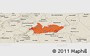 Political Panoramic Map of Iguaraci, shaded relief outside