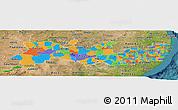 Political Panoramic Map of Pernambuco, satellite outside