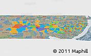 Political Panoramic Map of Pernambuco, semi-desaturated