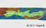 Political Shades Panoramic Map of Pernambuco, darken