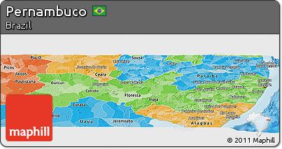 Political Shades Panoramic Map of Pernambuco