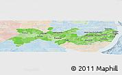 Political Shades Panoramic Map of Pernambuco, lighten