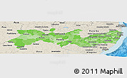 Political Shades Panoramic Map of Pernambuco, shaded relief outside