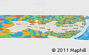 Shaded Relief Panoramic Map of Pernambuco, political outside
