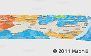 Shaded Relief Panoramic Map of Pernambuco, political shades outside