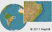 Satellite Location Map of Pedra