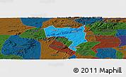 Political Panoramic Map of Pesqueira, darken