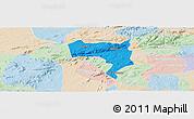 Political Panoramic Map of Pesqueira, lighten