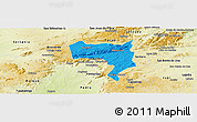Political Panoramic Map of Pesqueira, physical outside